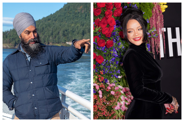 NDP Leader Jagmeet Singh, left, is pictured in Victoria, B.C., on Sept. 28, 2019. Rihanna is shown at Rihanna's 5th Annual Diamond Ball at Cipriani Wall Street in New York City on Sept. 12, 2019.