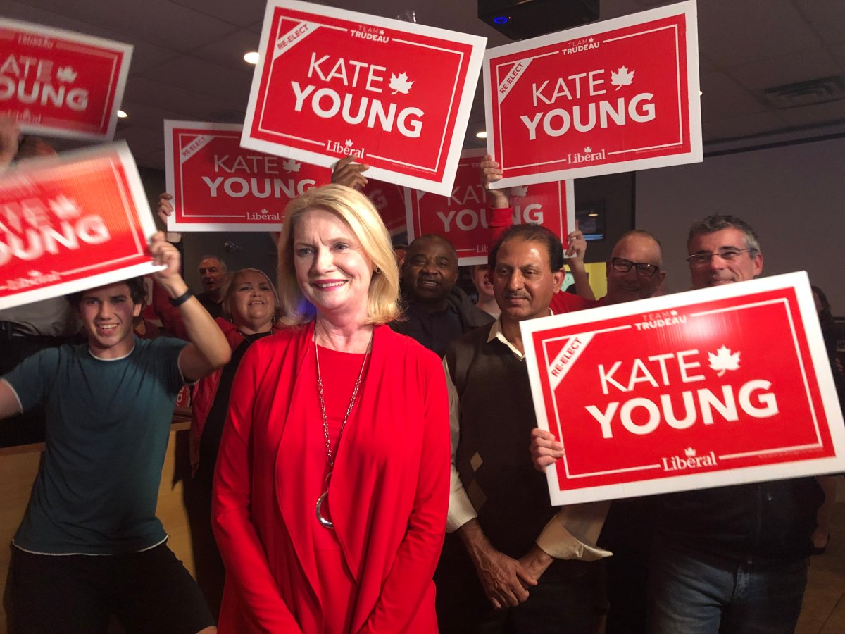 London West Liberal MP Kate Young celebrates her win at Kubby's in October 2019.