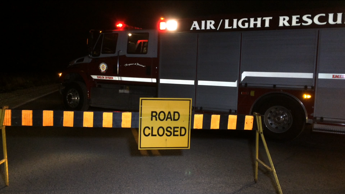 Kawartha Lakes Road 121 near Fenelon Falls was closed Saturday night after a pedestrian was struck and killed by a vehicle, OPP said.