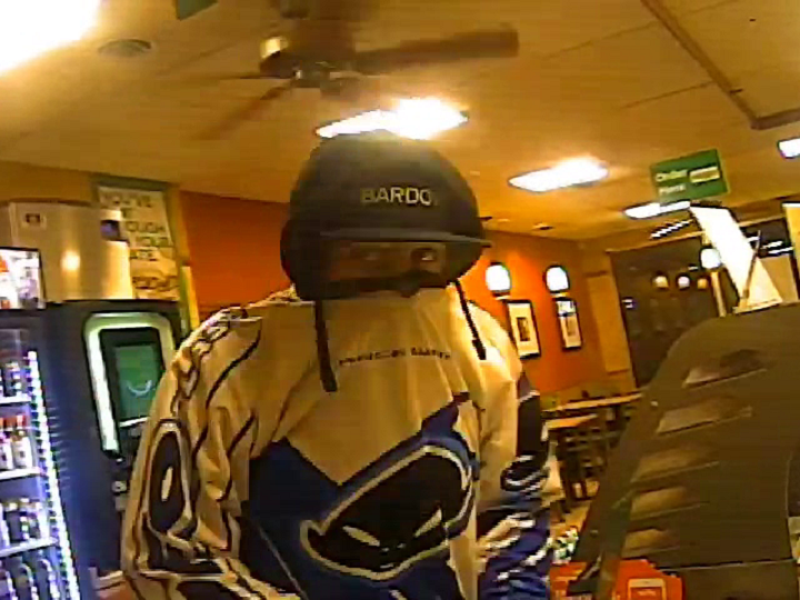 A photo of the suspect in last Monday's robbery of a Subway restaurant along the 3000 block of Pandosy Street in Kelowna.