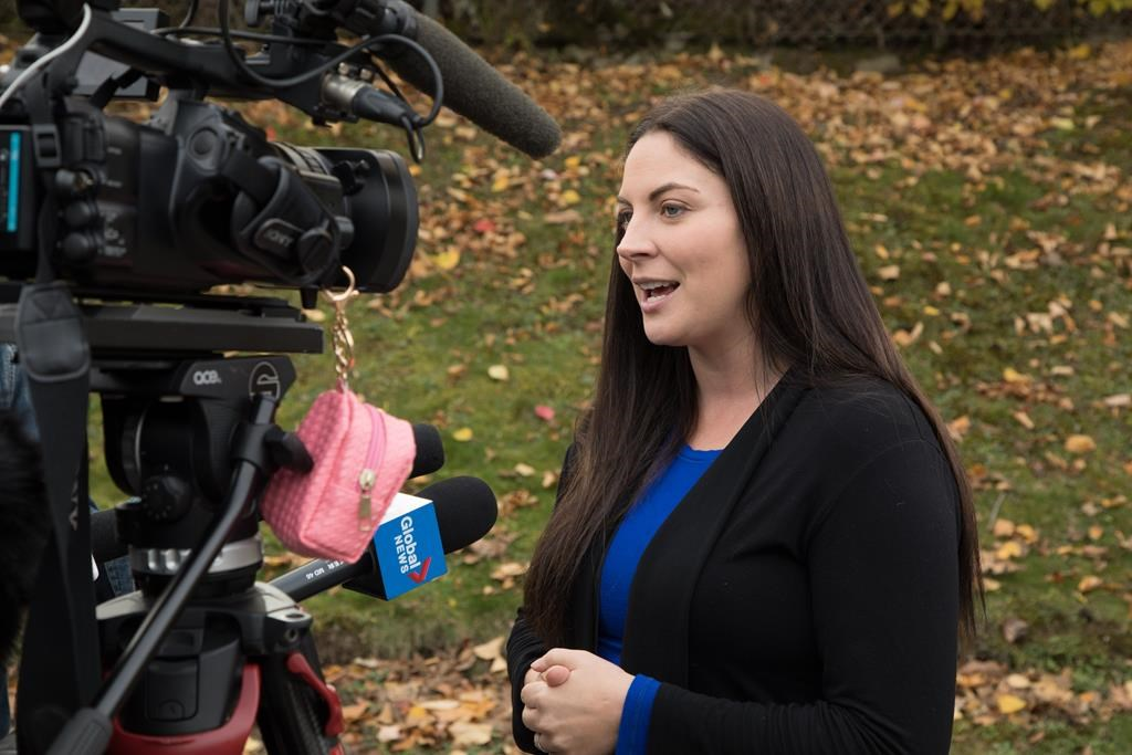 Newly elected Green Party MP Jenica Atwin speaks to the media in Fredericton on Tuesday, October 22, 2019.