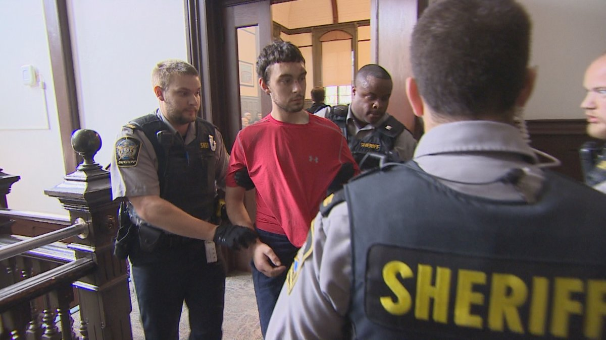 Ryan Lamontagne, charged with the murder of his mother, appears in Halifax provincial court on Wednesday, Oct. 23, 2019.