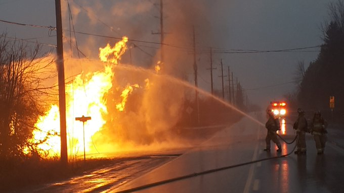 Ottawa Fire Services continue to battle the blaze on Moodie Drive on Thursday morning.