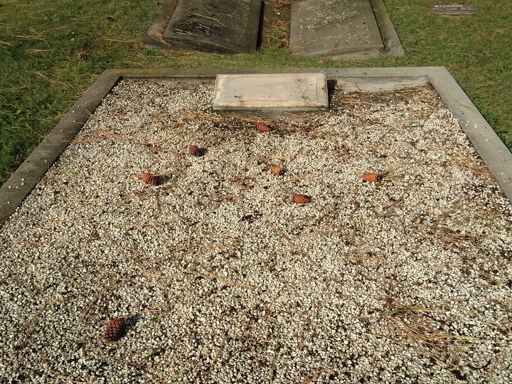 The regional district says six grave plaques commemorating eight people were stolen from the Naramata Cemetery. The plaques were removed from headstones, seen above.