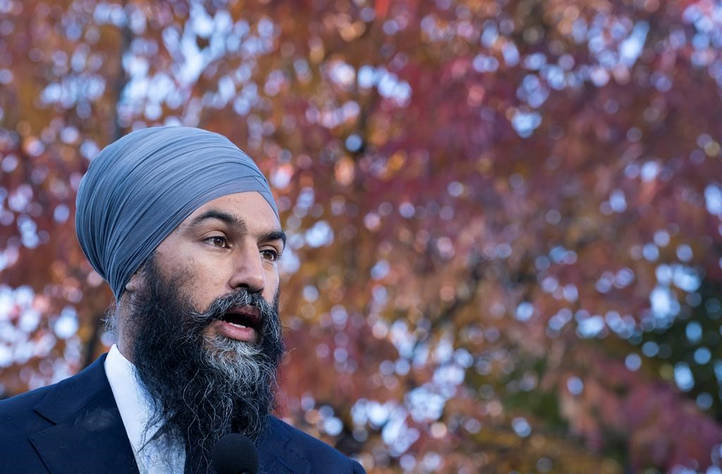NDP Leader Jagmeet Singh responds to questions during a news conference in Ottawa, on Thursday, October 10, 2019.