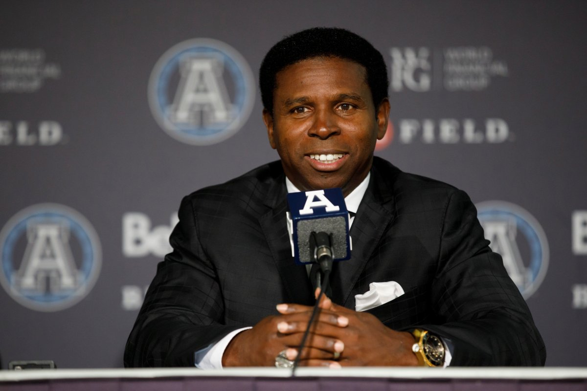 """Mike """"Pinball"""" Clemons speaks as he is announced as the new general manager of the Toronto Argonauts during a press conference at BMO Field in Toronto, Tuesday, Oct. 8, 2019."""