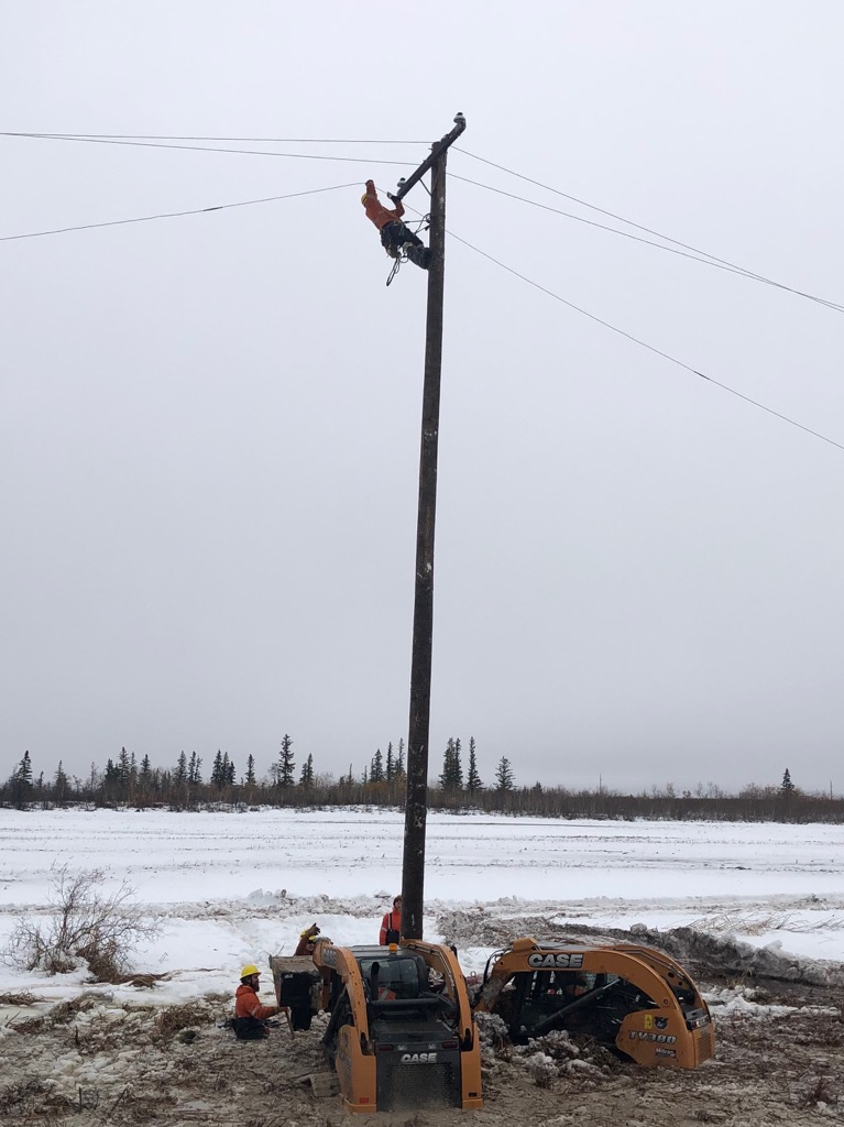 A Hydro pole being replaced.