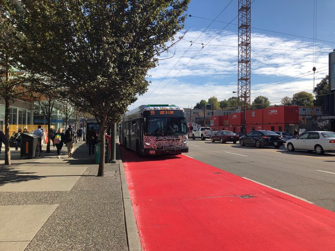The City of Vancouver is piloting red painted bus zones. It says the initiative is meant to keep drivers out of bus lanes and keep transit traffic flowing.