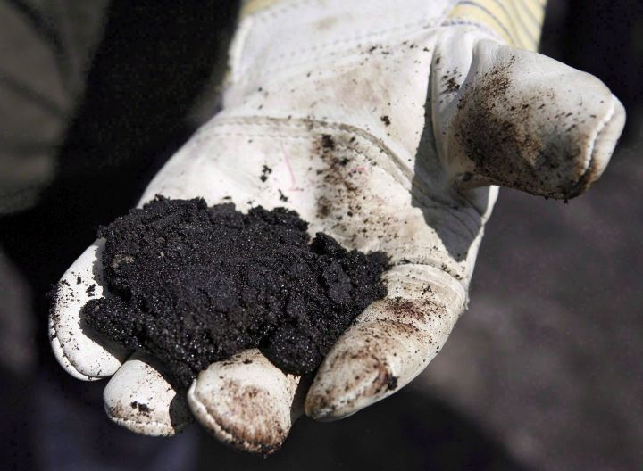 An oil worker holds raw sand bitumen near Fort McMurray, Alta., on July 9, 2008.
