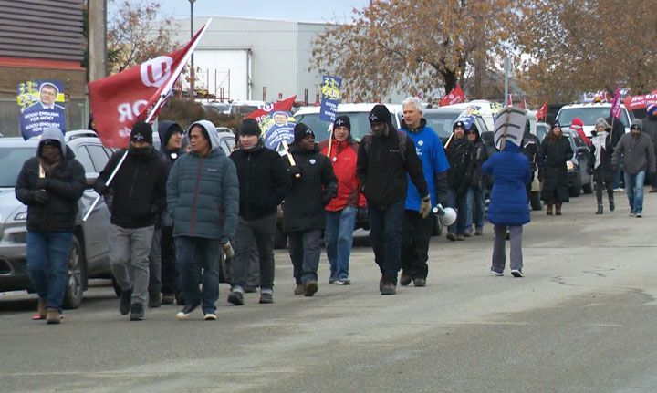 Unionized Crown employee strike action continued on Oct. 15, 2019, outside of Directwest in Regina.