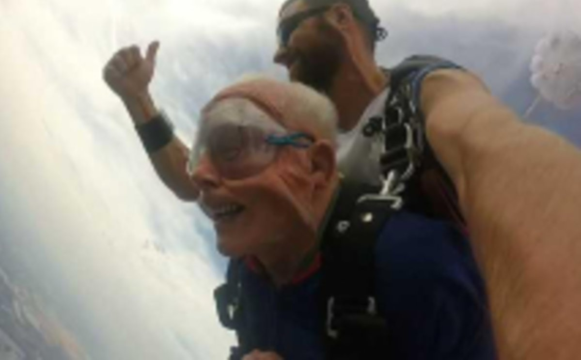Tara Kleier's 94-year-old grandfather went skydiving in honour of his late wife, Betty.