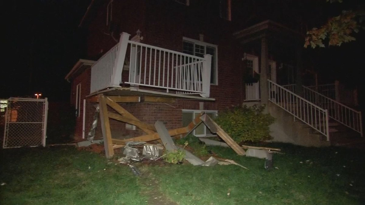 A driver allegedly struck another vehicle before crashing into a building in Sainte-Catherine on Monday evening.