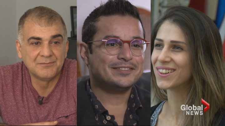 Syrian-Canadians, Yasser Issa of Bedford, Nova Scotia, Mohammed Alsaleh of Burnaby, BC and Aya Mhana of Calgary, Alberta are preparing to vote in their first Canadian federal election.