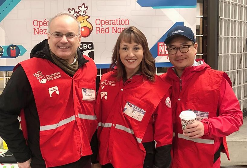Coquitlam Coun. Teri Towner (centre) has been volunteering as a driver with Operation Red Nose for about a decade.
