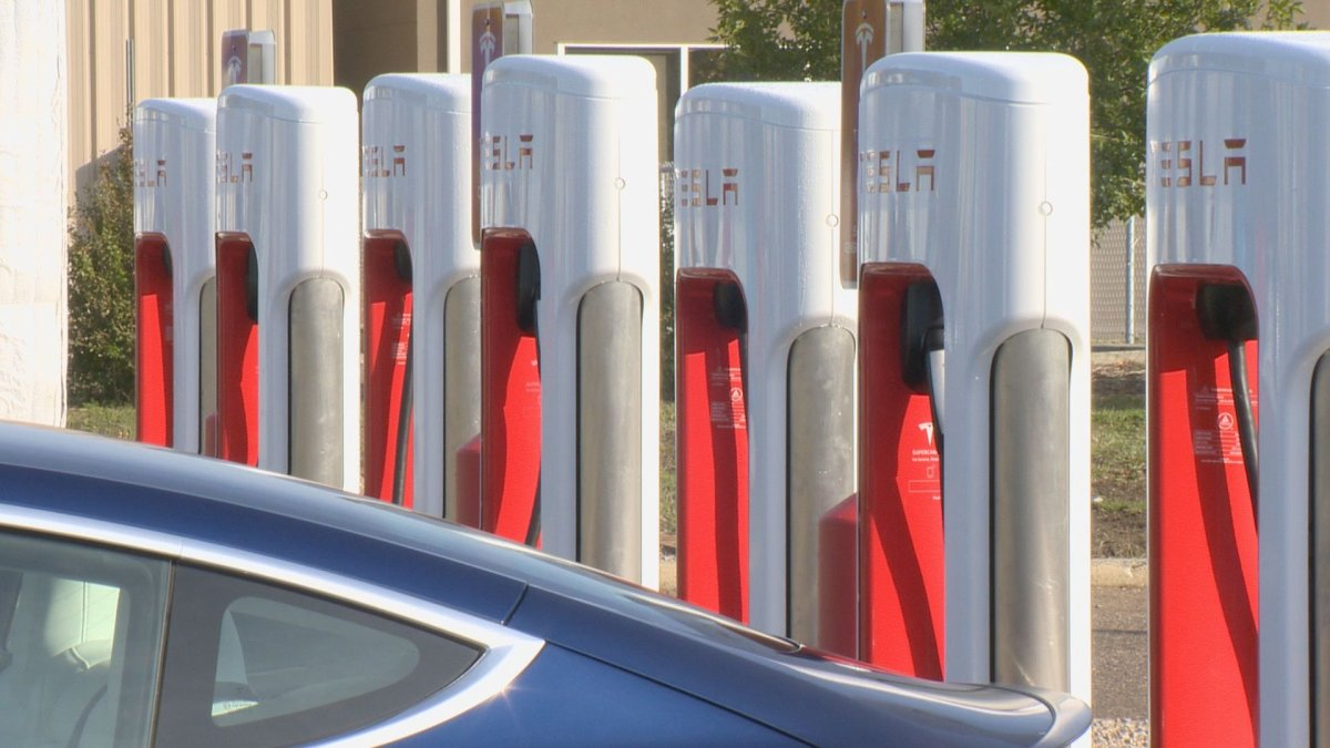Eight V3 Tesla Superchargers have been installed in Regina.