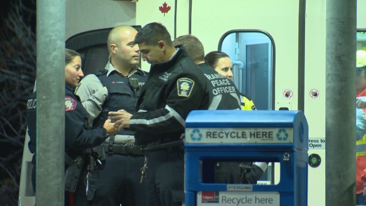 There was a large police presence in northeast Calgary on Sunday night after a man allegedly pointed a BB gun at someone on the CTrain.