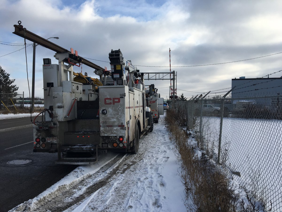 CP rail vehicles were on scene to repair a track in south Edmonton on Wednesday, Nov. 27, 2019.
