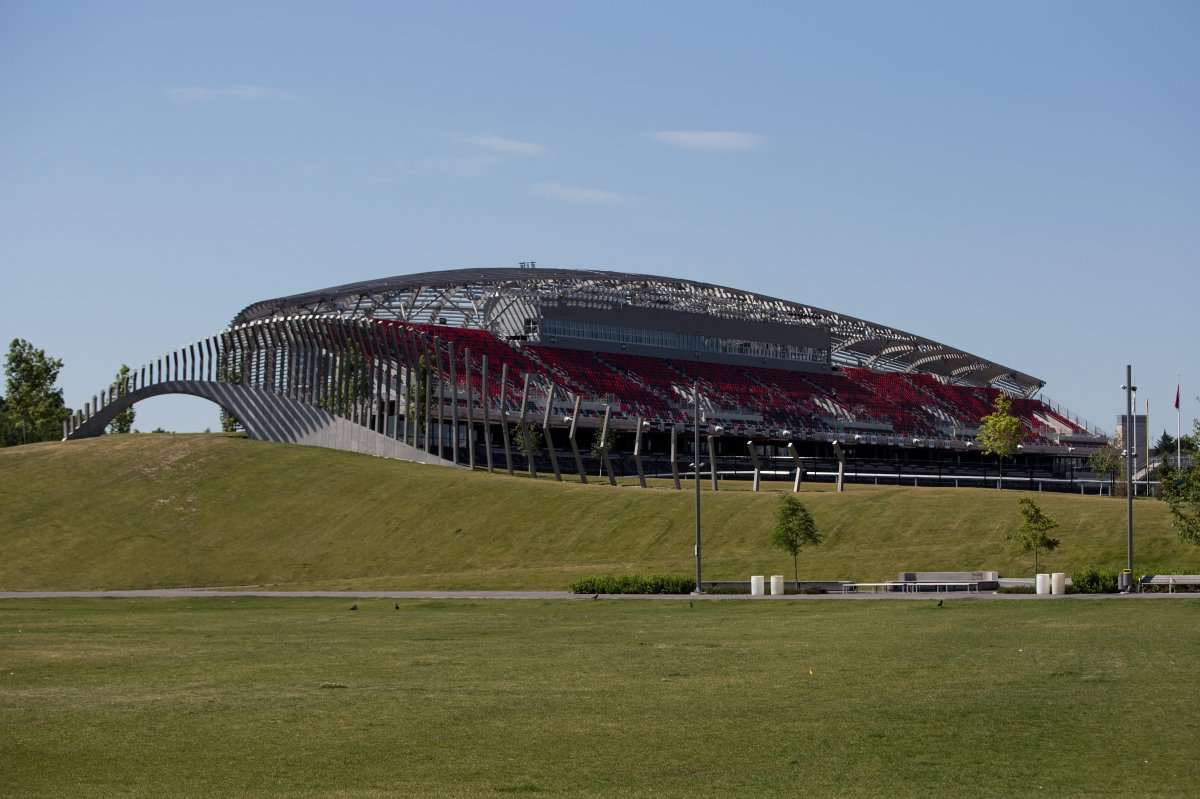 TD Place seen from Lansdowne Park in Ottawa, Ont., on July 5, 2016. The site's operators will field the Ottawa Redblacks here for an extra 10 years if city council signs off on changes to their deal on Wednesday.