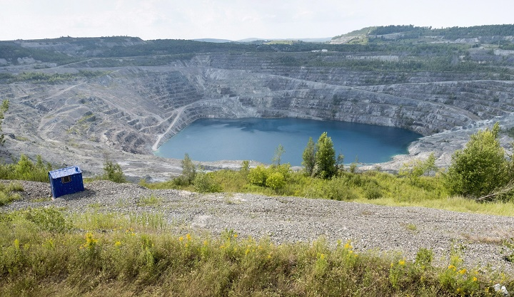 The open pit of the now closed Jeffrey mine is seen Wednesday, August 10, 2016 in Asbestos, Que.