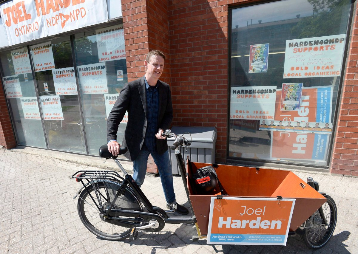 Ottawa Centre NDP candidate — now MPP — Joel Harden parks his cargo bike outside his campaign office in Ottawa on Thursday, May 24, 2018.