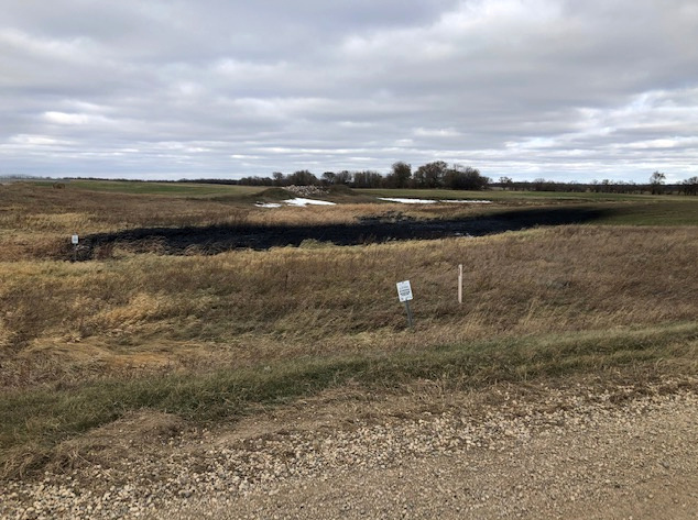 Oil spilled from a section of the Keystone pipeline is seen in Walsh County, North Dakota, U.S., October 30, 2019.