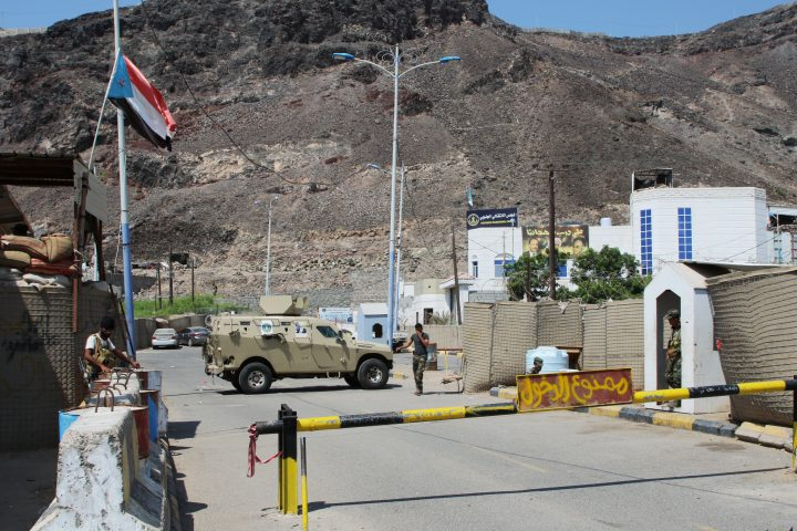 Southern Yemeni separatist fighters stand guard outside the headquarters of the Southern Transitional Council in Aden, Yemen Nov. 5, 2019.