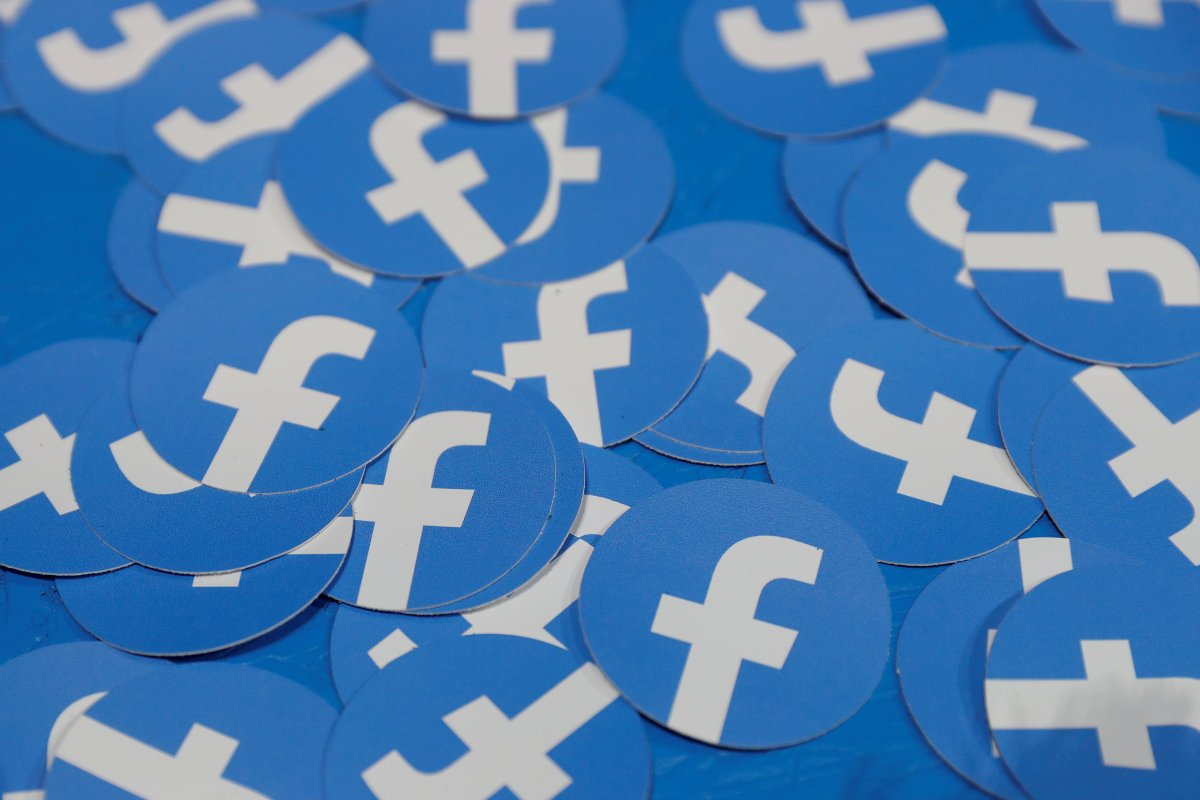 Stickers bearing the Facebook logo are pictured at Facebook Inc's F8 developers conference in San Jose, California, U.S., April 30, 2019.