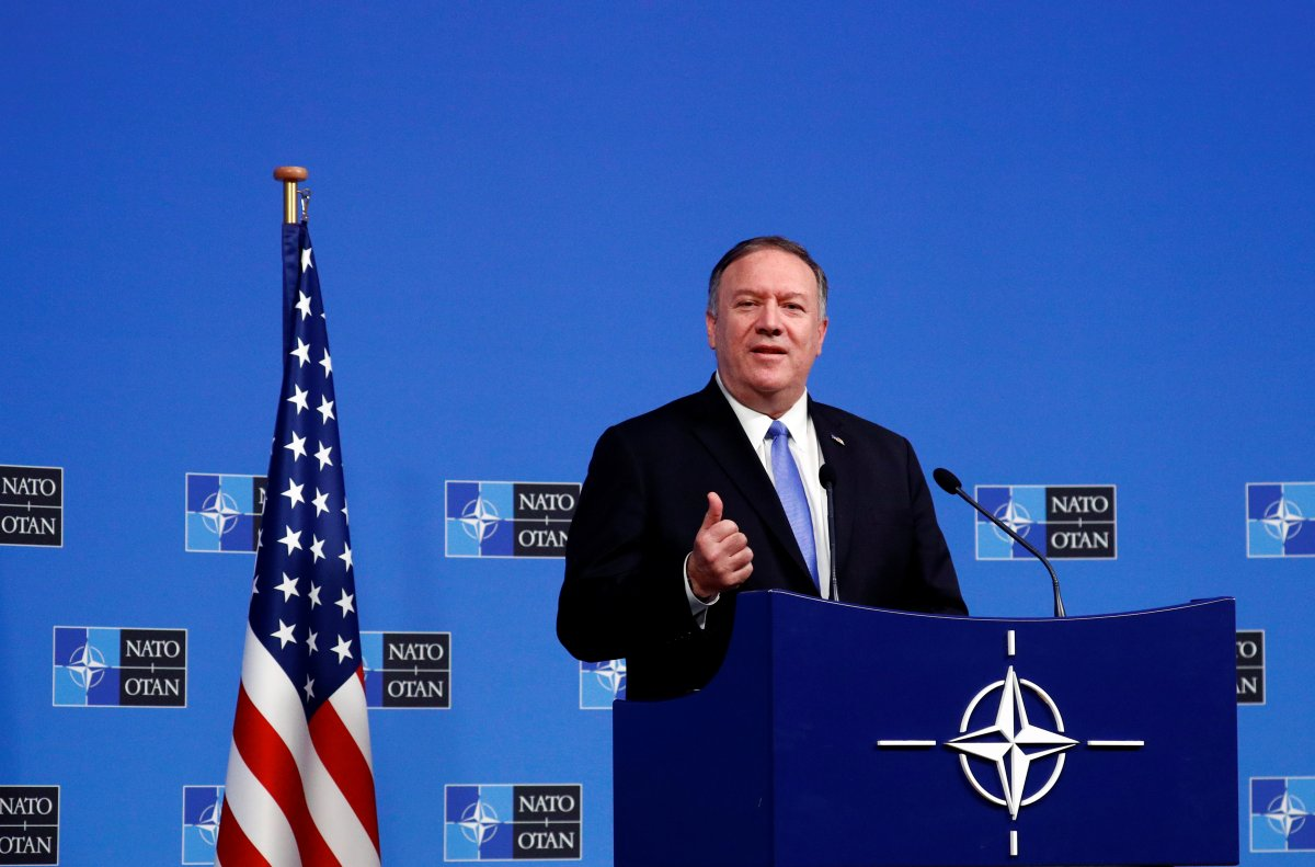 U.S. Secretary of State Mike Pompeo holds a news conference at the Alliance headquarters in Brussels, Belgium November 20, 2019.