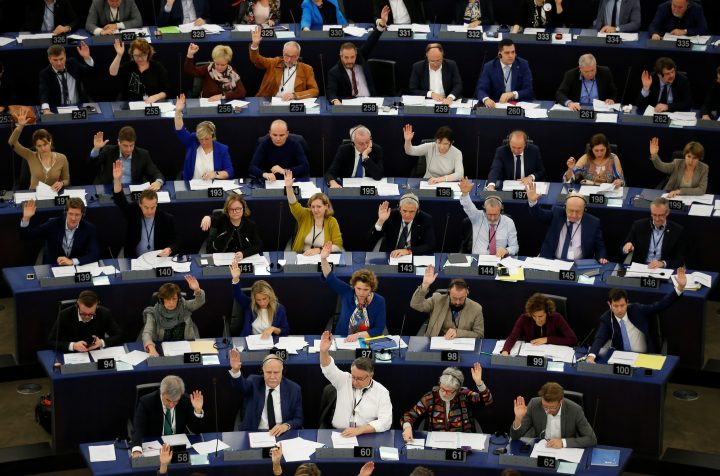 Members of the European Parliament take part in a voting session in Strasbourg, France, Nov. 28, 2019.