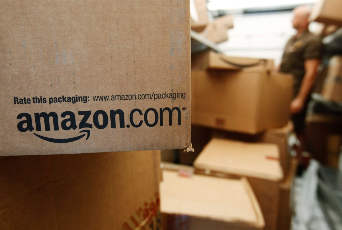 In this Oct. 18, 2010, file photo, an Amazon.com package awaits delivery.