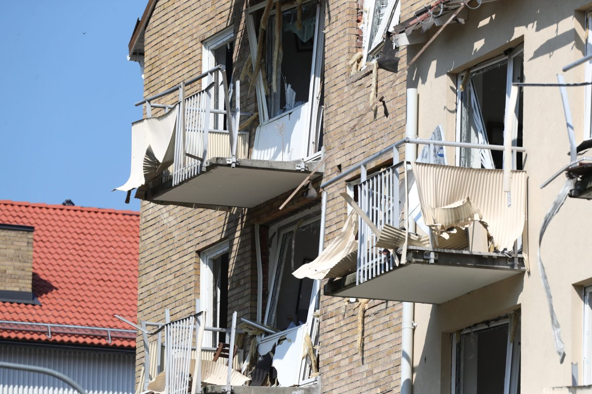 Damaged balconies and windows at a block of flats that were hit by an explosion Friday morning June 7, 2019 in Linkoping, Central Sweden. (Jeppe Gustafsson).