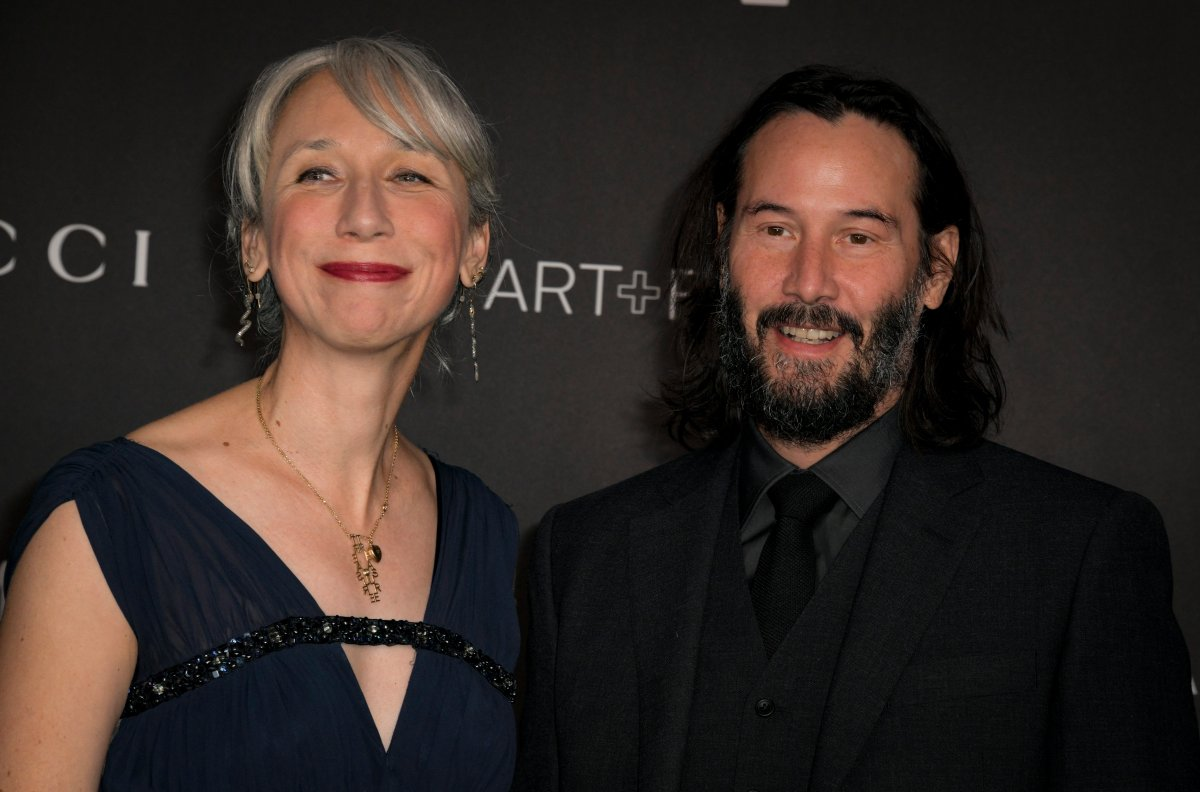 Keanu Reeves (R) and his girlfriend Alexandra Grant (L) at the 2019 LACMA Art + Film Gala at the Los Angeles County Museum of Art in Los Angeles, Calif., on Nov. 2, 2019.