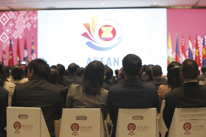 Delegates sit on recycle chairs during the closing ceremony of the 35th Association of Southeast Asian Nations and Related Summits and handing over of the ASEAN chairmanship to the Socialist Republic of Vietnam at IMPACT Muang Thong Thani in Nonthaburi province, Thailand, Nov. 4 2019.
