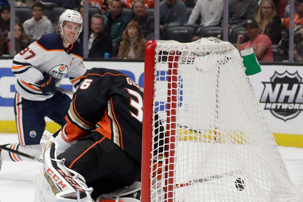 Edmonton Oilers center Connor McDavid scores past Anaheim Ducks goaltender John Gibson during the first period of an NHL hockey game in Anaheim, Calif., Sunday, Nov. 10, 2019. (AP Photo/Chris Carlson).