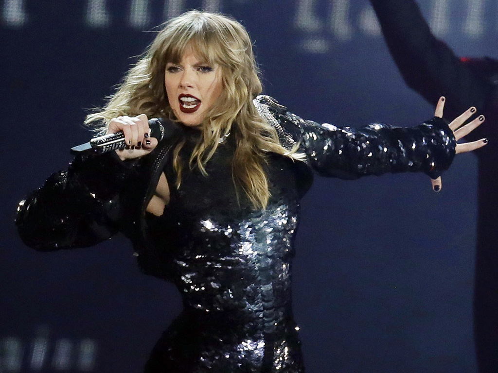 This May 8, 2018 file photo shows Taylor Swift performing during her 'Reputation' stadium tour opener in Glendale, Ariz.