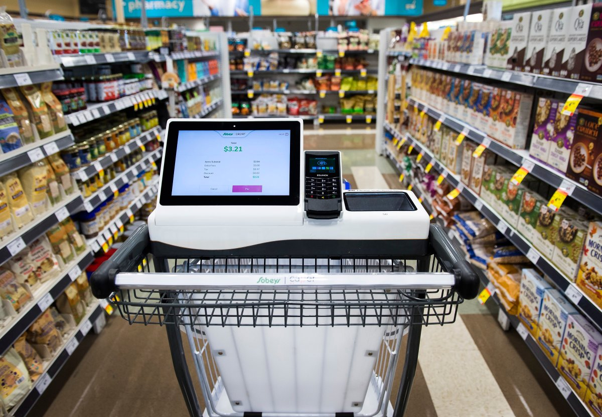 A smart cart, part of a pilot project, is shown at a Sobeys grocery store in Oakville, Ont., on Tuesday, November 12, 2019.