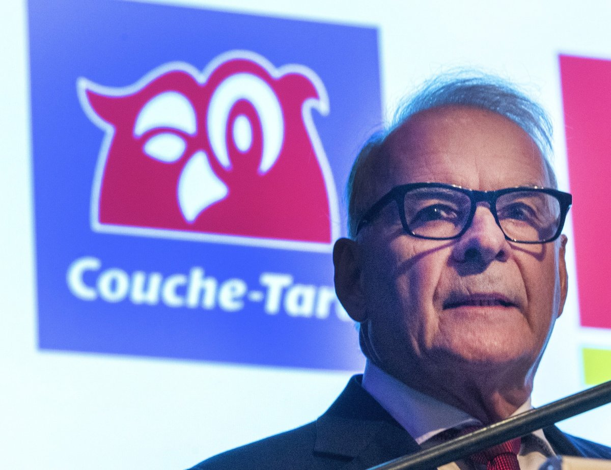 Couche-Tard founder and Chairman Alain Bouchard speaks to shareholders the company's annual meeting on Sept. 18, 2019 in Laval, Que.