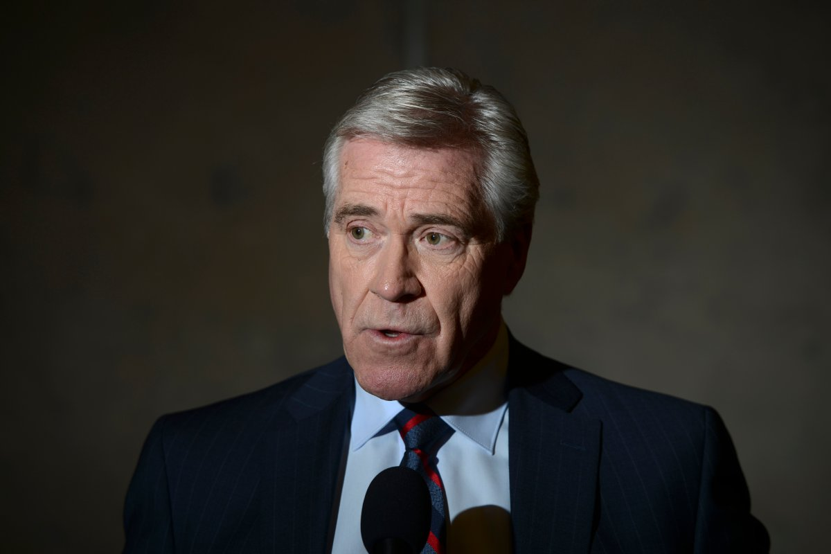 Premier of Newfoundland and Labrador, the Dwight Ball talks to reporters after meeting with Prime Minister Justin Trudeau on Parliament Hill in Ottawa on Tuesday, Nov. 26, 2019.
