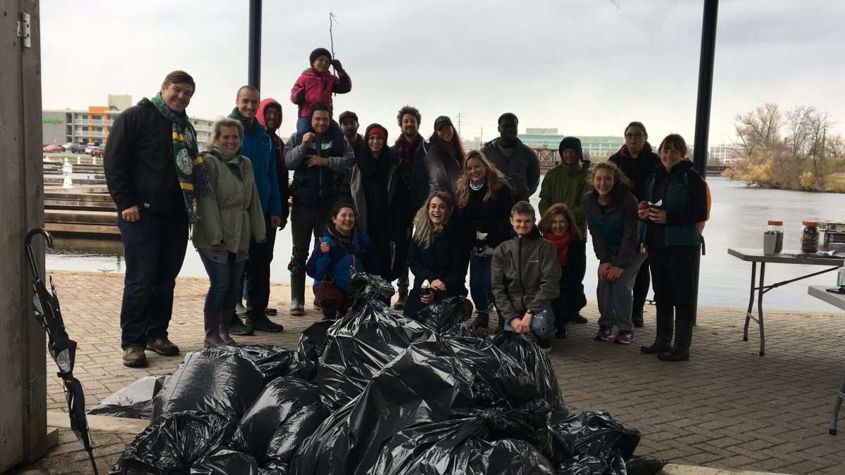 Fleming College and Trent University students participated in the third annual Great Canadian Shoreline cleanup at Del Crary Park on Saturday.