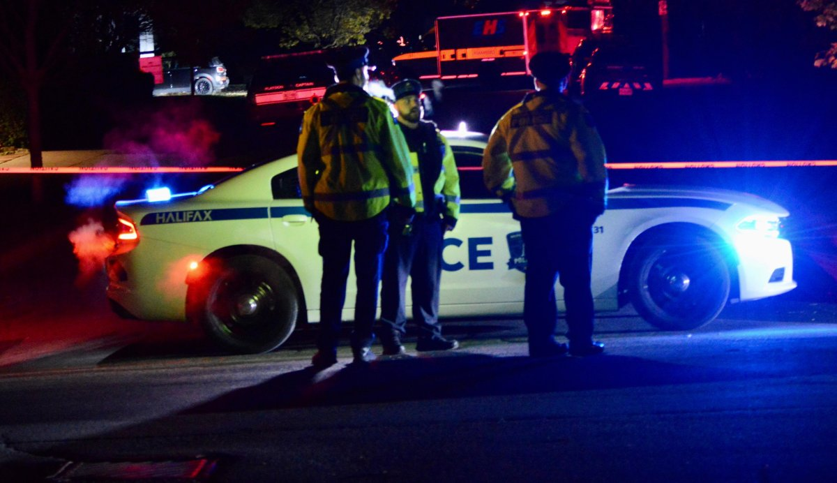 Halifax Regional Police stand watch at a crime scene in Oct. 2019.