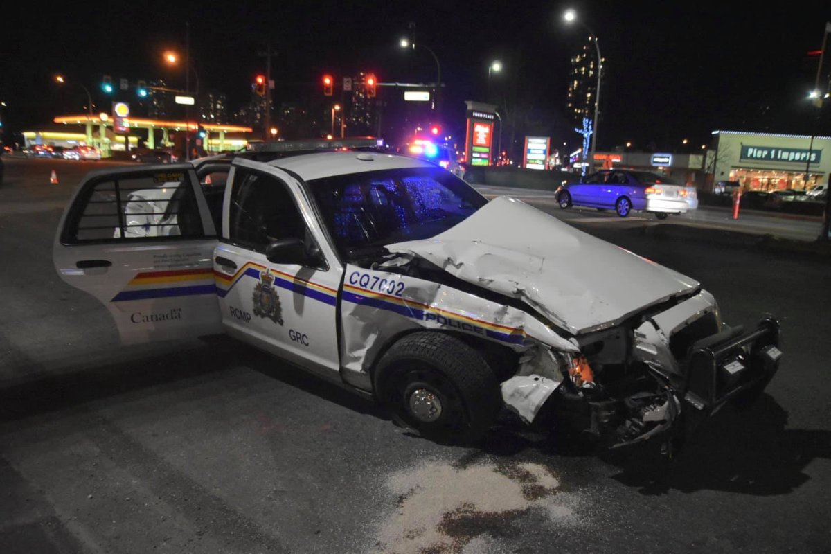 Coquitlam RCMP confirm one of the vehicles in the crash was an RCMP cruiser, and an officer has been sent to hospital.