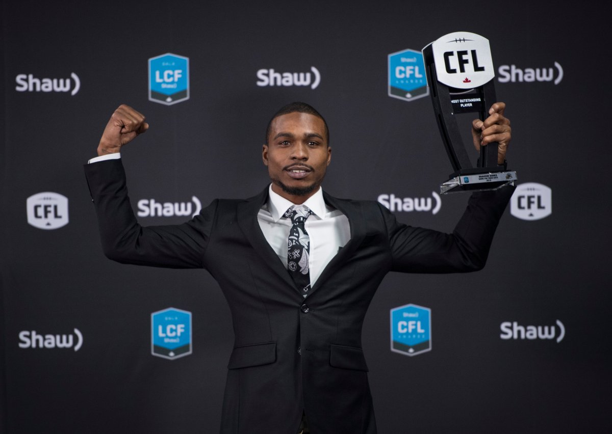 Hamilton Tiger-Cats receiver Brandon Banks poses with the trophy for the most outstanding player award at the CFL Awards during the CFL's Grey Cup week in Calgary, Thursday, Nov. 21, 2019.