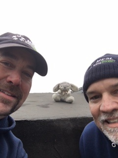 A pair of HVAC workers, Rob and Kevin from Moore Environmental Systems, found the toy bunny that flew out of a vintage Lancaster Bomber in November.