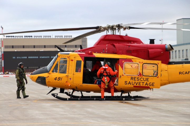 A search and rescue helicopter is seen at CFB Trenton.