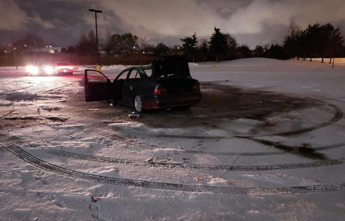 The damaged vehicle was found at the scene in Mississauga Wednesday evening.