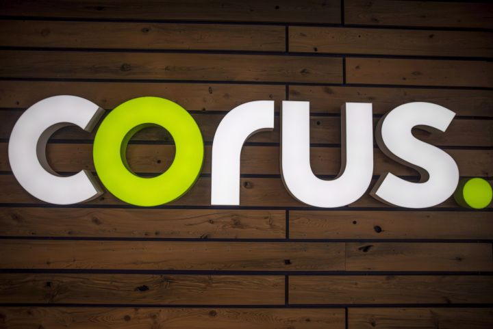 The new Corus logo inside Corus Quay in Toronto is photographed on Friday, June 22, 2018.