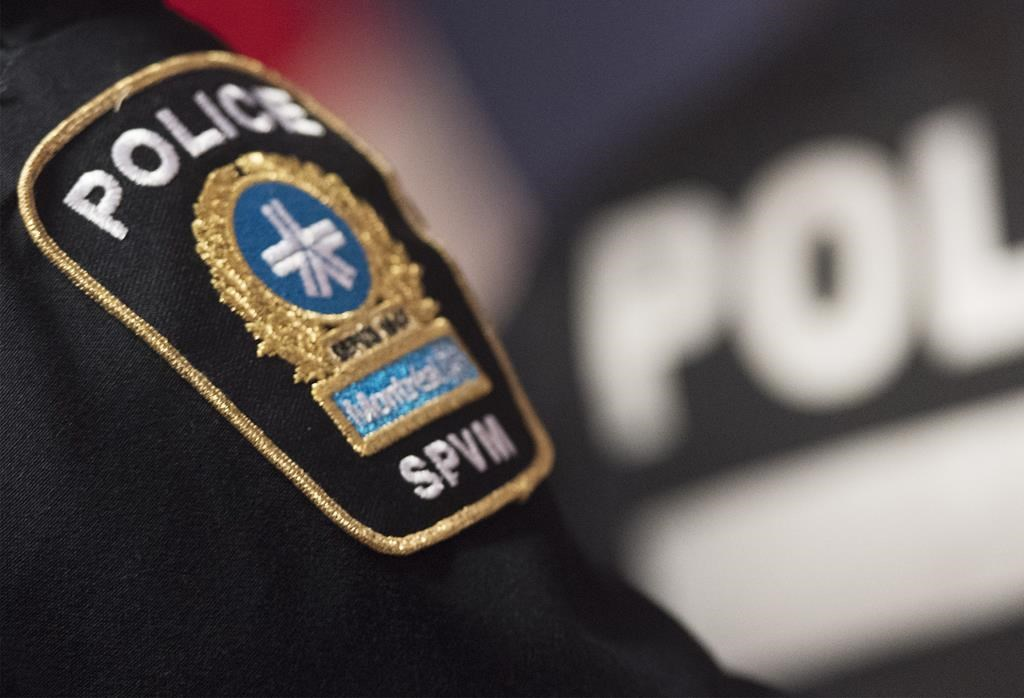 A Montreal Police badge is shown during a news conference in Montreal, Monday, October 7, 2019.