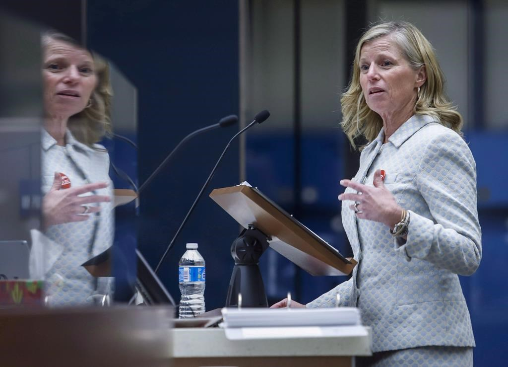 CEO Mary Moran of Calgary Economic Development speaks to Calgary City Council, in Calgary, Alta., Tuesday, Sept. 11, 2018. THE CANADIAN PRESS/Jeff McIntosh.