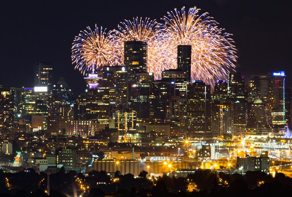 Seen from Burnaby Mountain approximately 16 kilometres away, fireworks explode behind the downtown Vancouver skyline as a pyrotechnic team from Croatia closes out the final night of the Honda Celebration of Light, in Vancouver, on Saturday August 3, 2019.