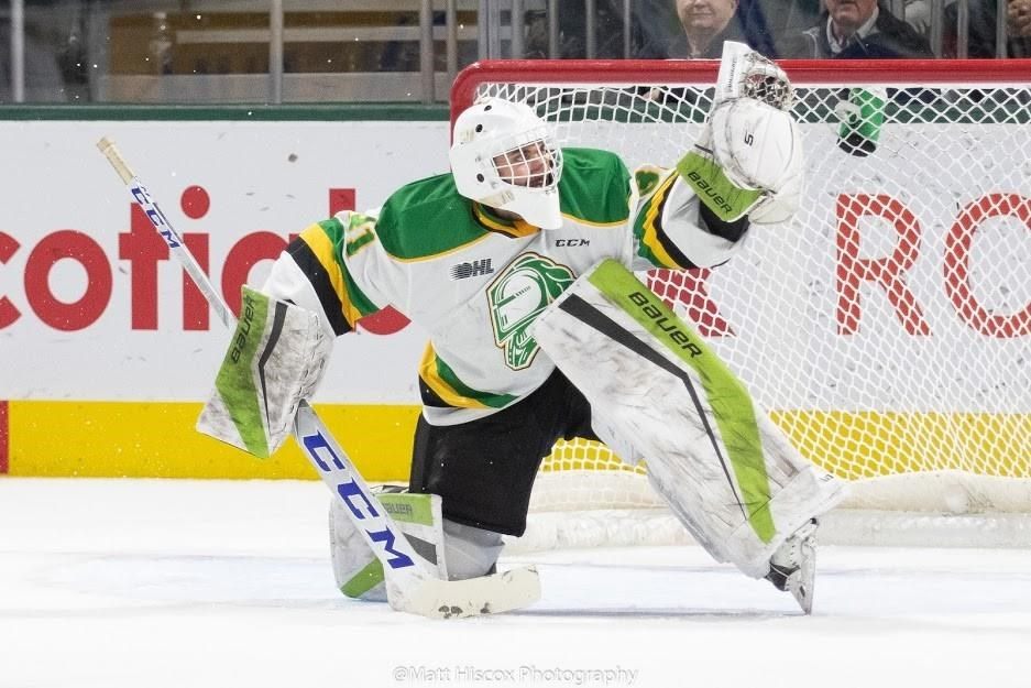 London Knights goaltender Dylan Myskiw makes a save in this undated handout photo.